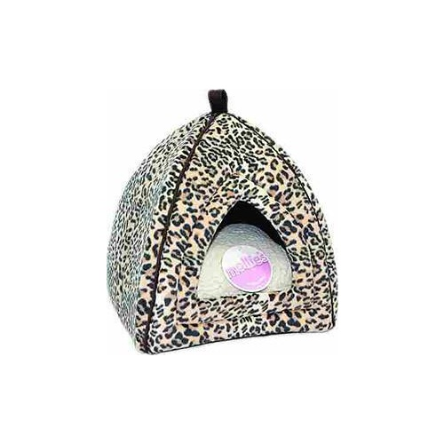 Cat Bed Igloo Leopard Faux Suede
