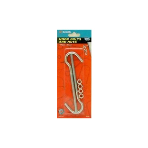 Bolt Hook Galvanised 107x5.2x20mm C ard Of 2