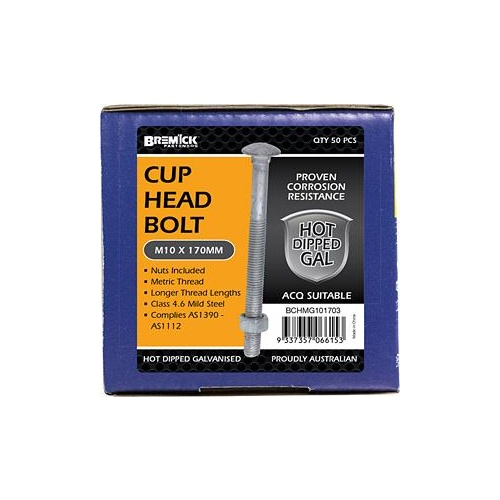 Bolt & Nut Cup Gal M10X170PC