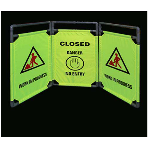 Barrier Safety 3xFolding Panels Closed/No Entry