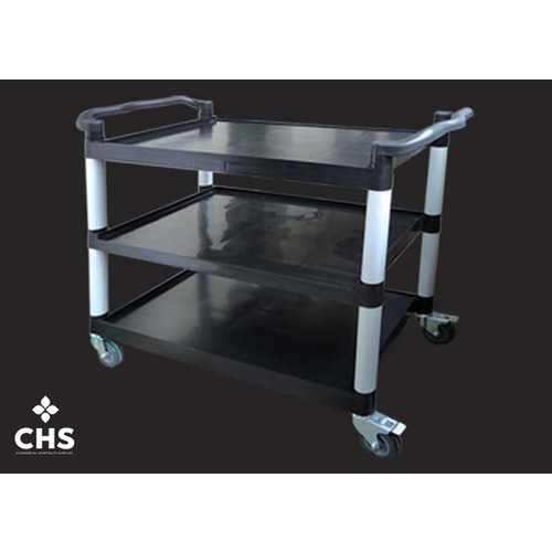 Trolley 3 Tray Black Plastic H980xL830xW420
