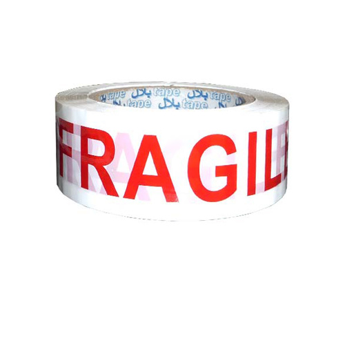 Tape Fragile Red on White 48mm 80mt Roll