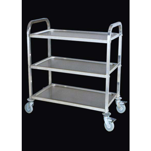 Trolley 3 Tray SS with brake