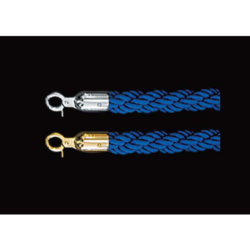 Crowd Control Barrier Rope Plaited Blue SS or TI Gold Ends 1500mm