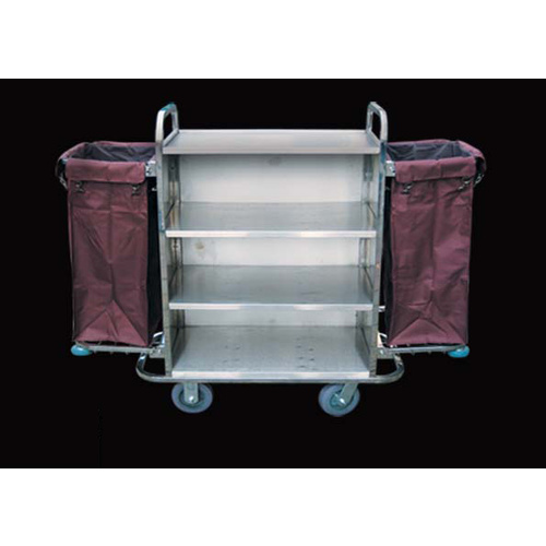 Trolley Housekeeping 2 x Bag Stainless Steel H1235xL1160xW570