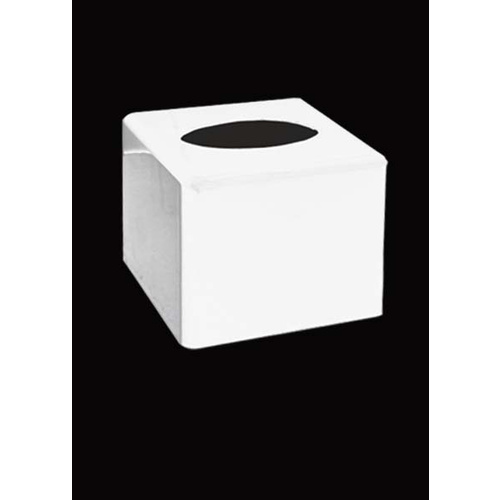 Tissue Box Cover Sqr White 125x125 H138