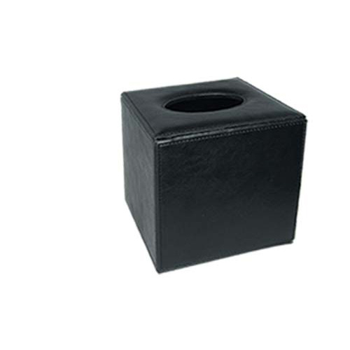 Tissue Box Holder Sqr Blk Lthr 130x130 H140
