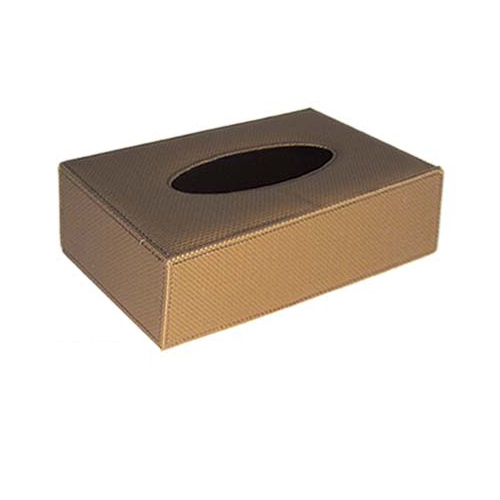Tissue Box Holder Rect BrnLthr 240x120x65