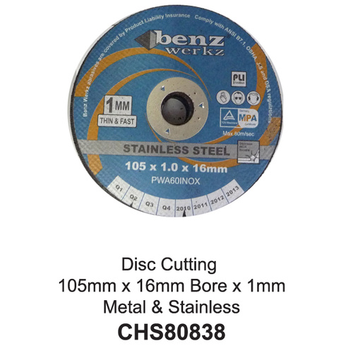 Disc Cut Metal/SS 105x1x16mm