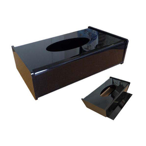 Tissue Box Cover Acryl Rect Black Size L250mm W135mm H73mm