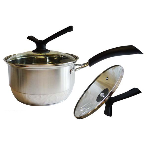 Saucepan S/S w/Glass Lid 18cm Easy Hold Handle